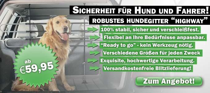 Hunde-Gitter und Hundeboxen bieten Sicherheit für Fahrer und Haustier. Bei uns versandkostenfrei.