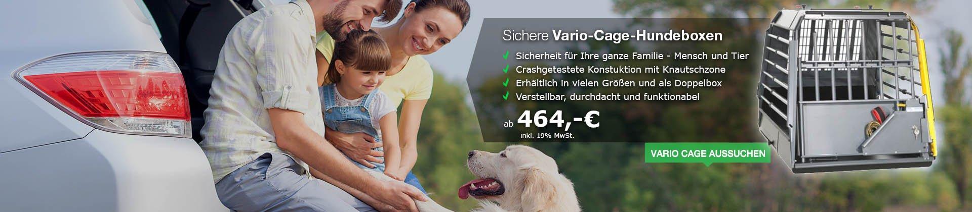 Vario-Cage-Hundebox: Knautschzonen-Sicherheit für Mensch und Tier und Hundebox